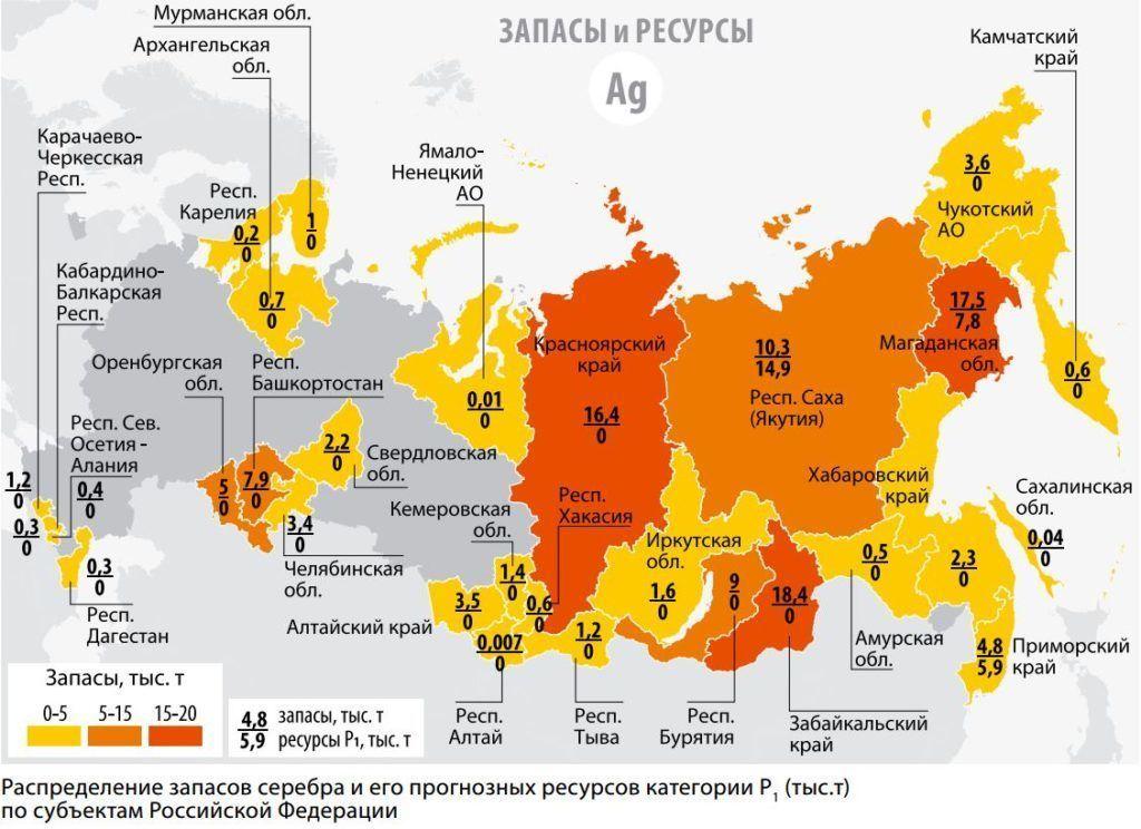 Добыча серебра в России
