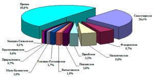 Доля крупнейших месторождений Югры в накопленной добыче нефти в 10 млрд. тонн
