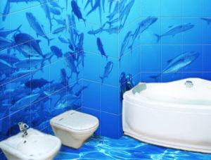 Как правило, изображение 3D плитки имеет растровую или геометрическую форму, которая способна создать искаженное восприятие параллельной реальности в ванной