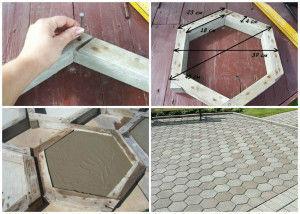 Пример изготовления форм из дерева для шестигранной тротуарной плитки.