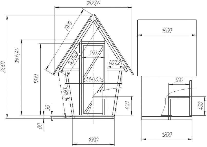 Чертеж с размерами домика для торфяного туалета