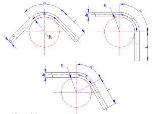 Длину изогнутого участка трубы А определяют по следующей формуле