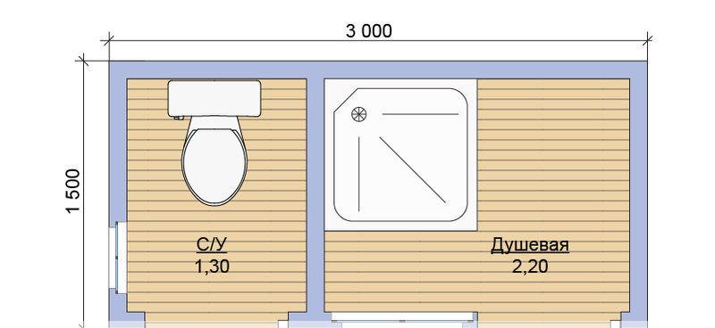 Душевая и туалет , варианты расположения и размеры