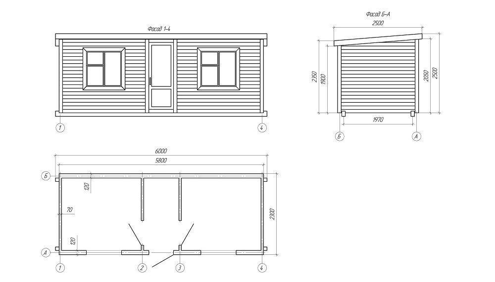 Хозблок с туалетом и душем (Проект №2)