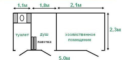 Хозблок с туалетом и душем (Проект №3)