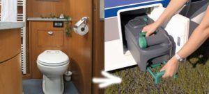 Кассетный биотуалет и процесс изьятия кассеты
