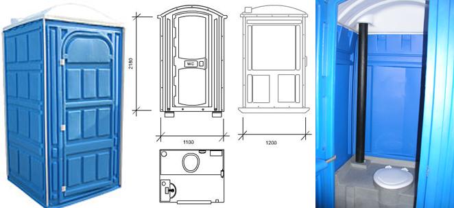 Схема и конструкция пластиковой туалетной кабины (стандарт)