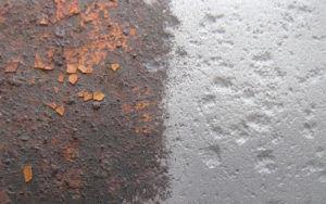 Металл до и после пескоструйной обработки
