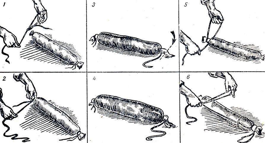 Последоввательность приемов вязки прямых колбасных батонов