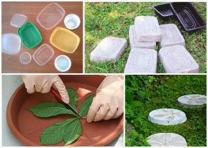 Для изготовления тротуарной плитки подойдут обычные пластиковые контейнеры и другие емкости, используемые в быту