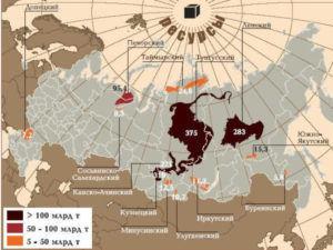 залежи угля в россии