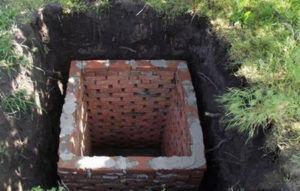 Выгребная яма обложена кирпичом