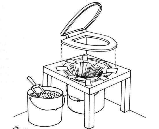 Схема простого торфяного туалета