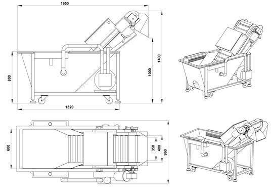 Схема моечно-барботажной машины для мытья фруктов
