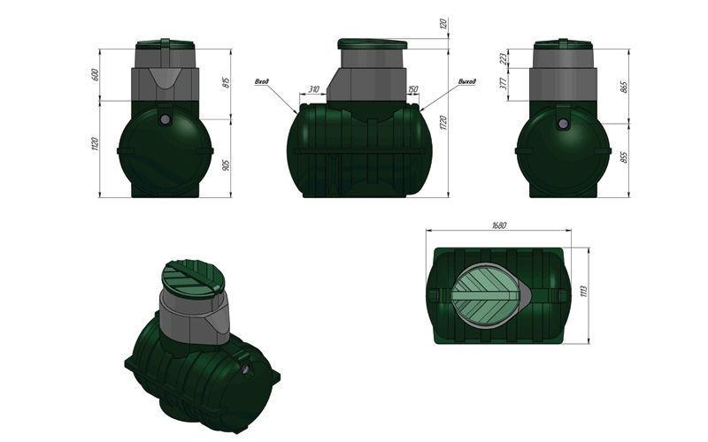 Схема поля фильтрации для септика 1,5 куб.м