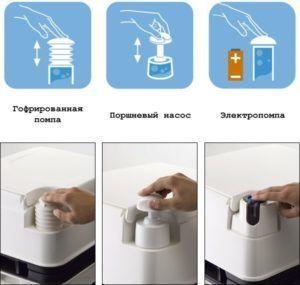 Верхний бак биотуалета оснащен кнопкой смыва клапанного, насосного или электрического механизма